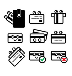 cute credit card icon set vector image