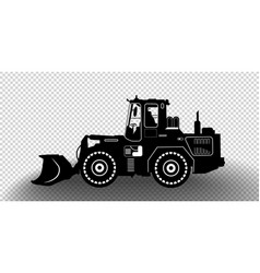 detailed excavator snow-plow tractor isolated vector image