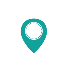 Dotted shape location symbol to destination travel vector
