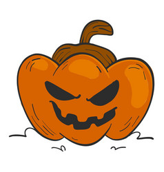 Evil pumpkin with naughty smile vector