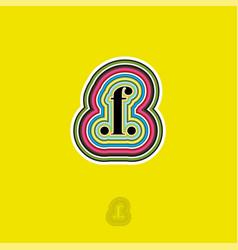 F letter monogram points color contours vector