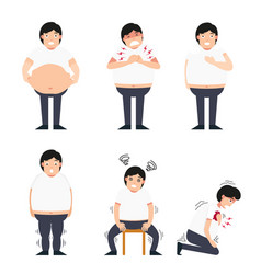 Fat man with various diseases vector