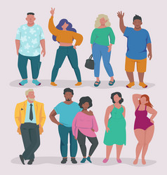fatty lifestyle fat male and female characters vector image
