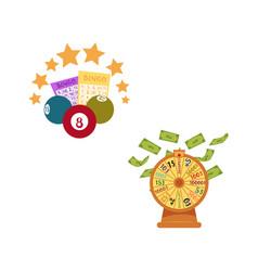 Flat bingo lottery balls tickets stars vector