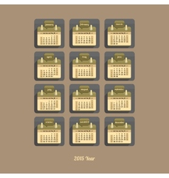 Flat calendar 2015 year vector image
