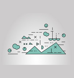 Flat linear landscape vector
