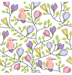 Floral seamless hand drawn pattern with birds and vector