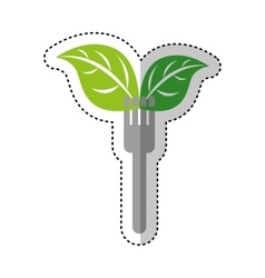 Fork with leafs fresh vegetable isolated icon vector