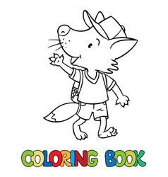 funny fox with backpack coloring book vector image