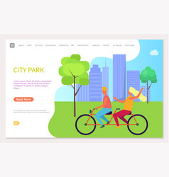 funny young couple riding bike city park vector image
