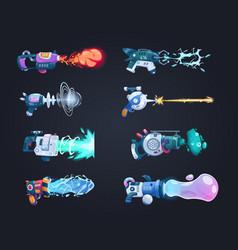 Futuristic guns cartoon game weapon shoots laser vector