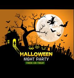 halloween night party orange background vector image