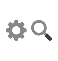 icon concept of gear with magnifying glass vector image