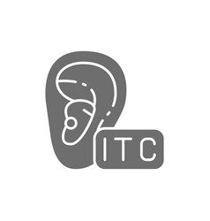 In canal hearing aid itc gray icon vector