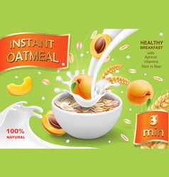 Instant oatmeals oat flakes with apricot vector