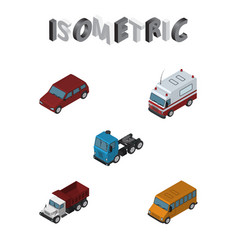 Isometric automobile set of car first-aid vector