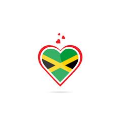 Jamaica country flag inside love heart creative vector
