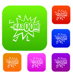 kaboom explosion set color collection vector image