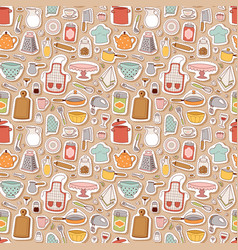 Kitchen set icon seamless pattern vector