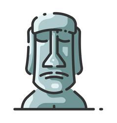 Landmark moai easter island vector