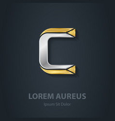 Letter c template for company logo 3d design vector