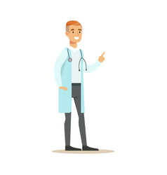 Male therapist doctor wearing medical scrubs vector