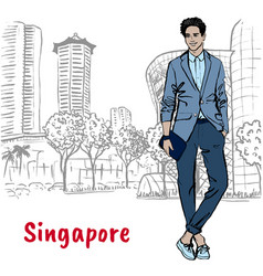 Man on orchard road in singapore vector