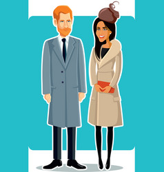 Meghan markle and prince harry editorial use vector