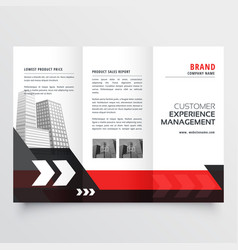 modern red black three fold business brochure vector image