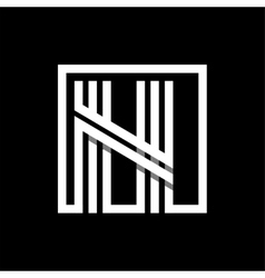 N capital letter made of stripes enclosed in a vector