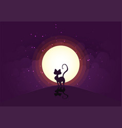 Night cat moon vector