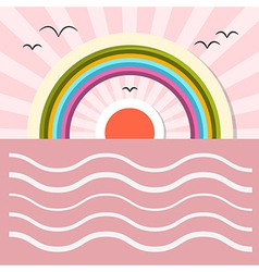 Ocean Abstract Retro with Sun Birds Rainbow vector image vector image