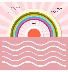 Ocean Abstract Retro with Sun Birds Rainbow vector