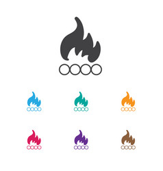 Of travel symbol on bonfire vector