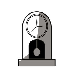 Outlined clock pendulum classic decoration shadow vector