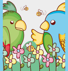 Parrots in the forest vector