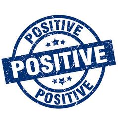 Positive blue round grunge stamp vector