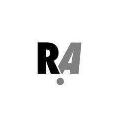 Ra r a black white grey alphabet letter logo icon vector