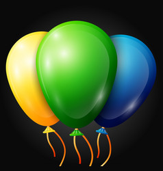 realistic green yellow blue balloons vector image