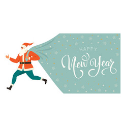 santa claus with huge bag on run to delivery vector image