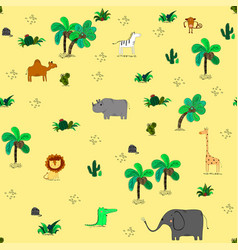 seamless pattern with cute african animals and vector image