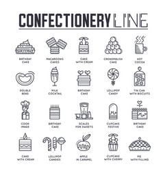 Set confectionary thin line icons pictograms vector