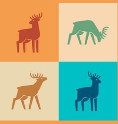 set deer logo vector image