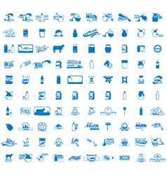 Set of 100 Milk icons vector