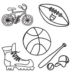 set of sport equipment doodle icons vector image
