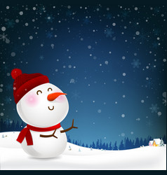 snowman cartoon smile and blank copy space vector image