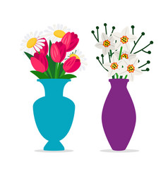 spring flowers bouquets in vases isolated vector image