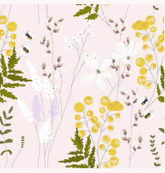 Spring garden seamless pattern with hand drawn vector