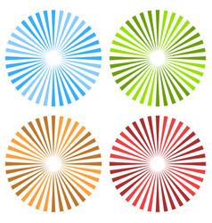 starburst sunburst circular pattern in 4 color vector image