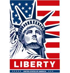 statue liberty usa flag nyc vector image